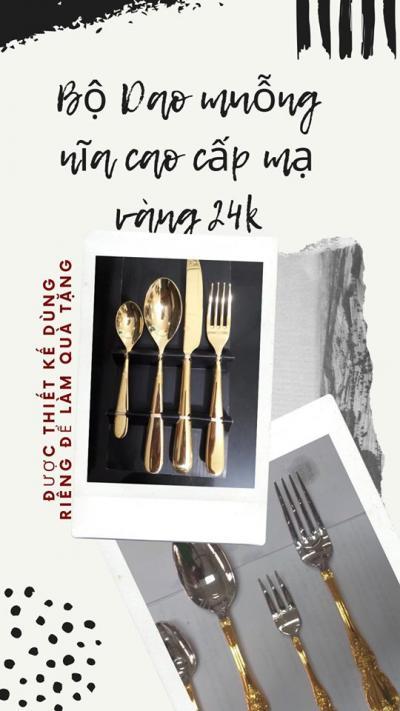 Bộ dao muỗng nĩa Alessi mạ vàng 24k